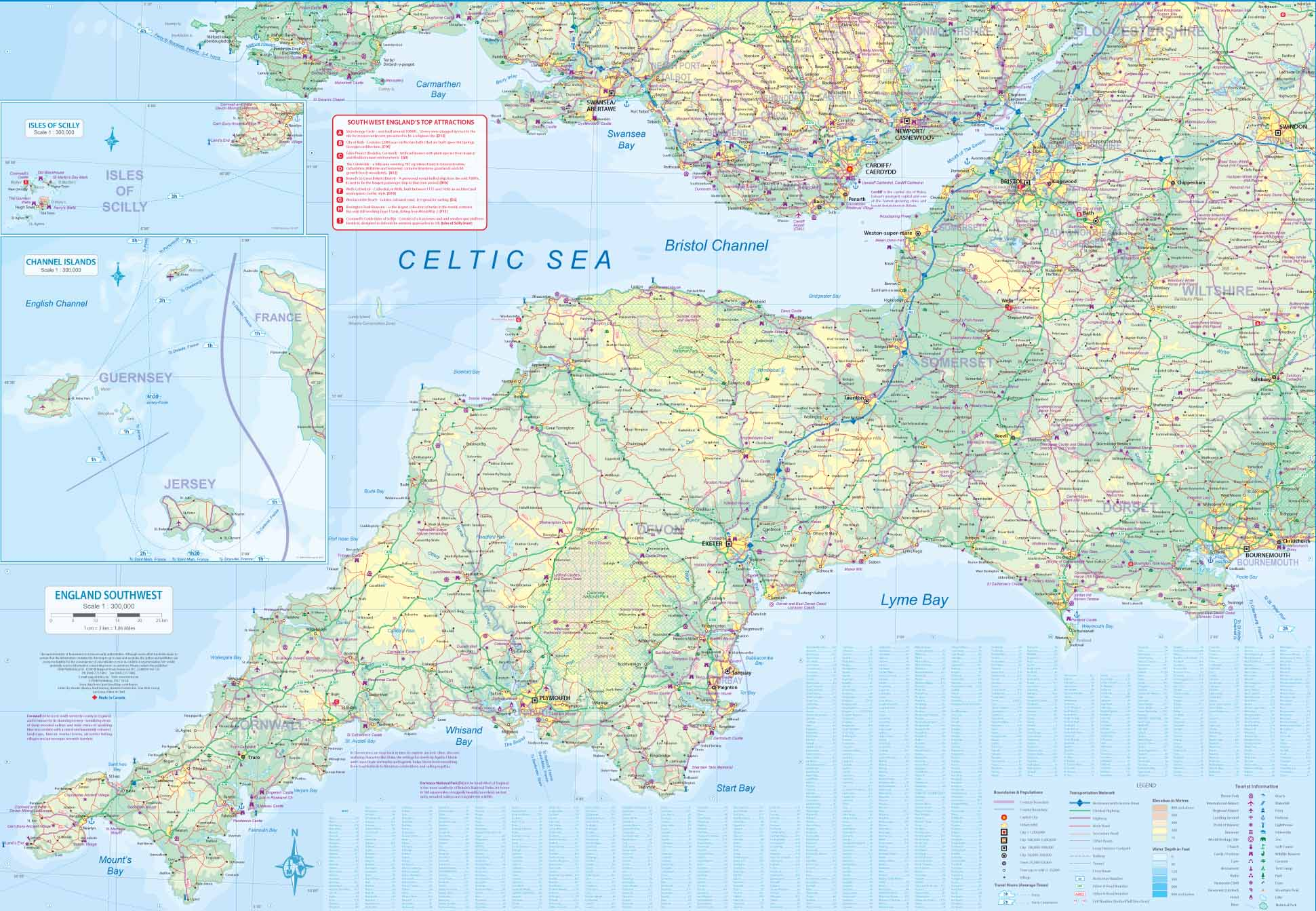 England Wales Travel Reference Map